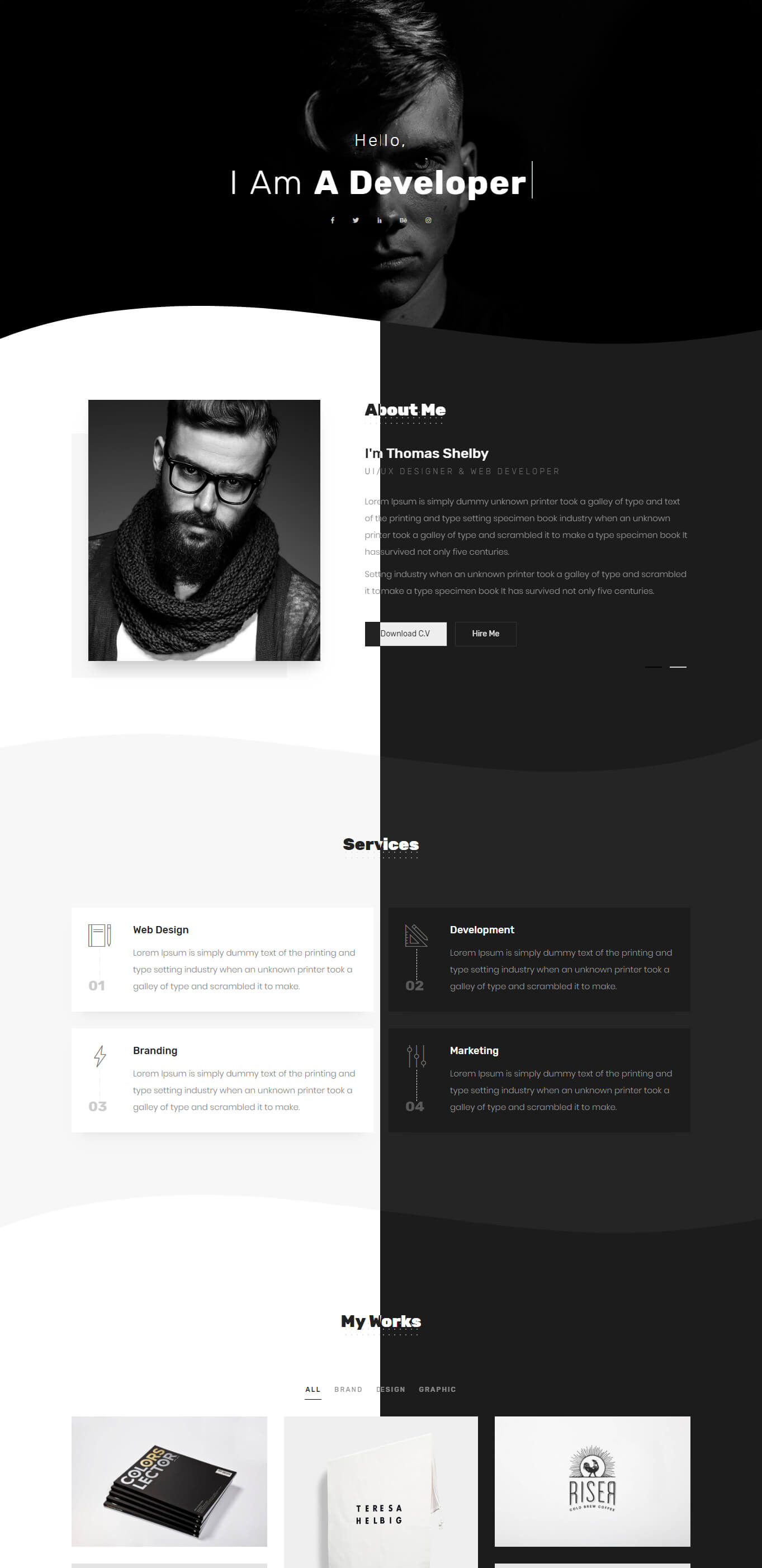 Tommy - Creative One Page Portfolio - 1