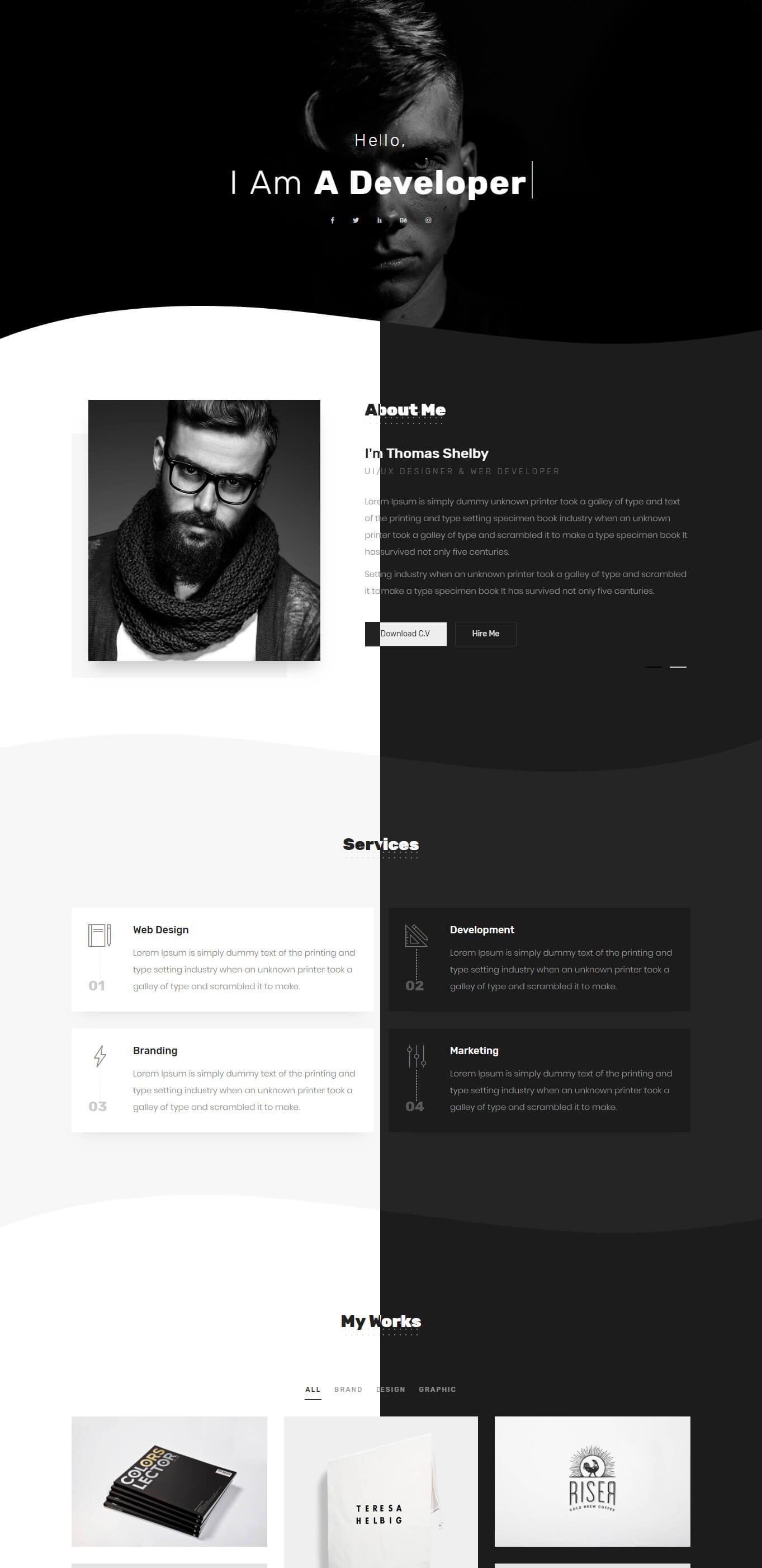 Tommy - Creative One Page Portfolio - 1